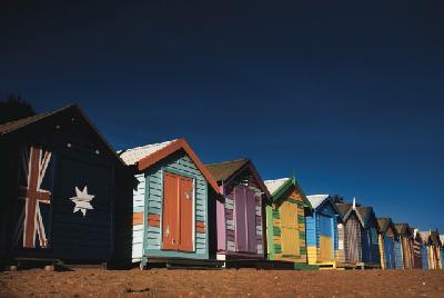 Strandhütten am Brighton Beach