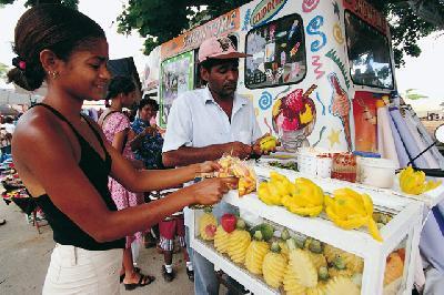 Sonnengereiftes Obst auf Mauritius